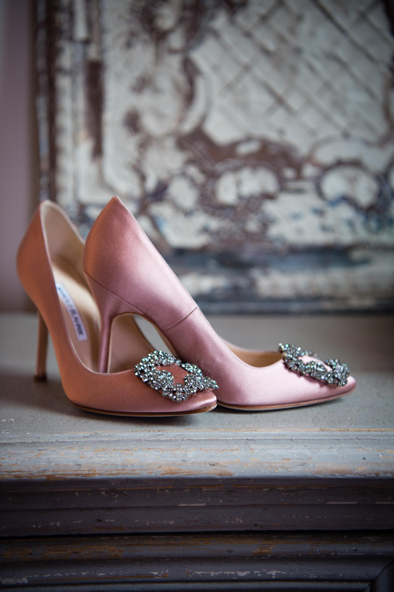 A pair of Manolo Blahnik bridal shoes