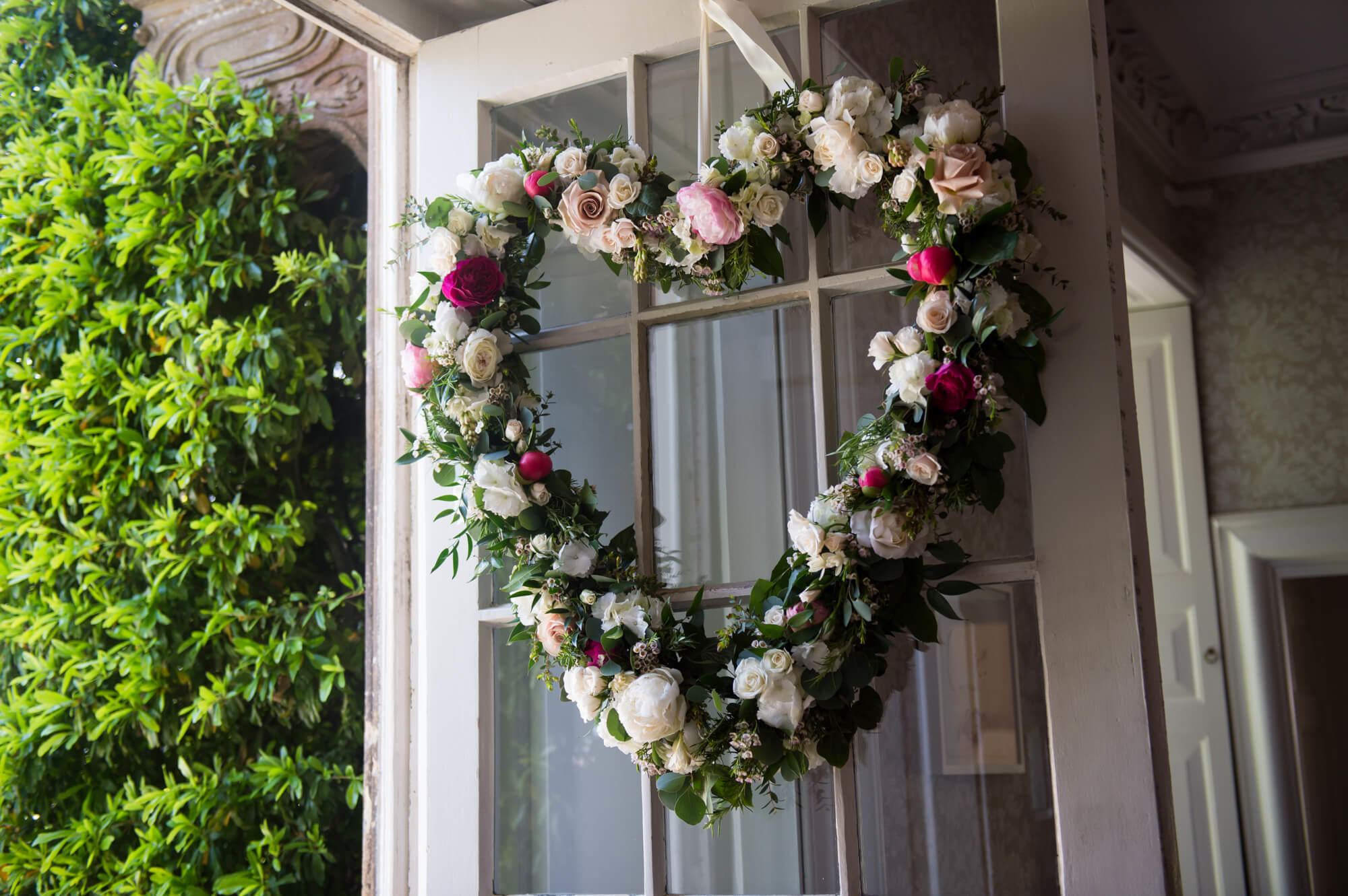 flowers by passion heart wreath at babington house