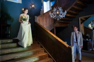 bride walking down the stairs at chateau rigaud photographed by especially amy