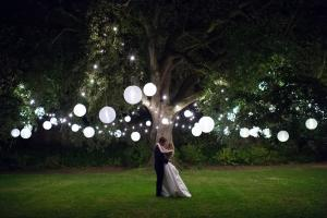 nighttime shot of a bride and groom at babington house wedding venue
