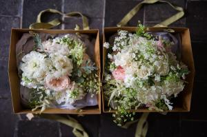 bouquets in bags at voewood wedding venue in norfolk