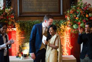 bride in a sari at fulham palace london wedding ceremony photographed by especially amy